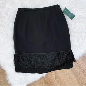 NWT Black Skirt with Fringe